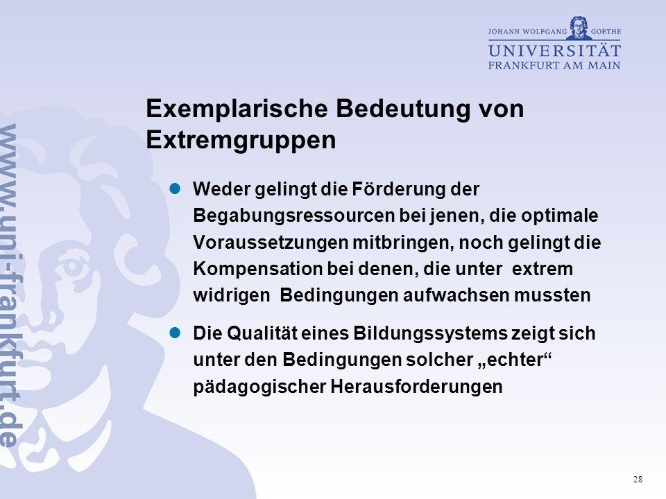28 Exemplarische Bedeutung von Extremgruppen Weder gelingt die Förderung der Begabungsressourcen bei jenen, die optimale Voraussetzungen mitbringen, n