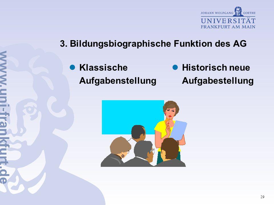29 3. Bildungsbiographische Funktion des AG Klassische Aufgabenstellung Historisch neue Aufgabestellung