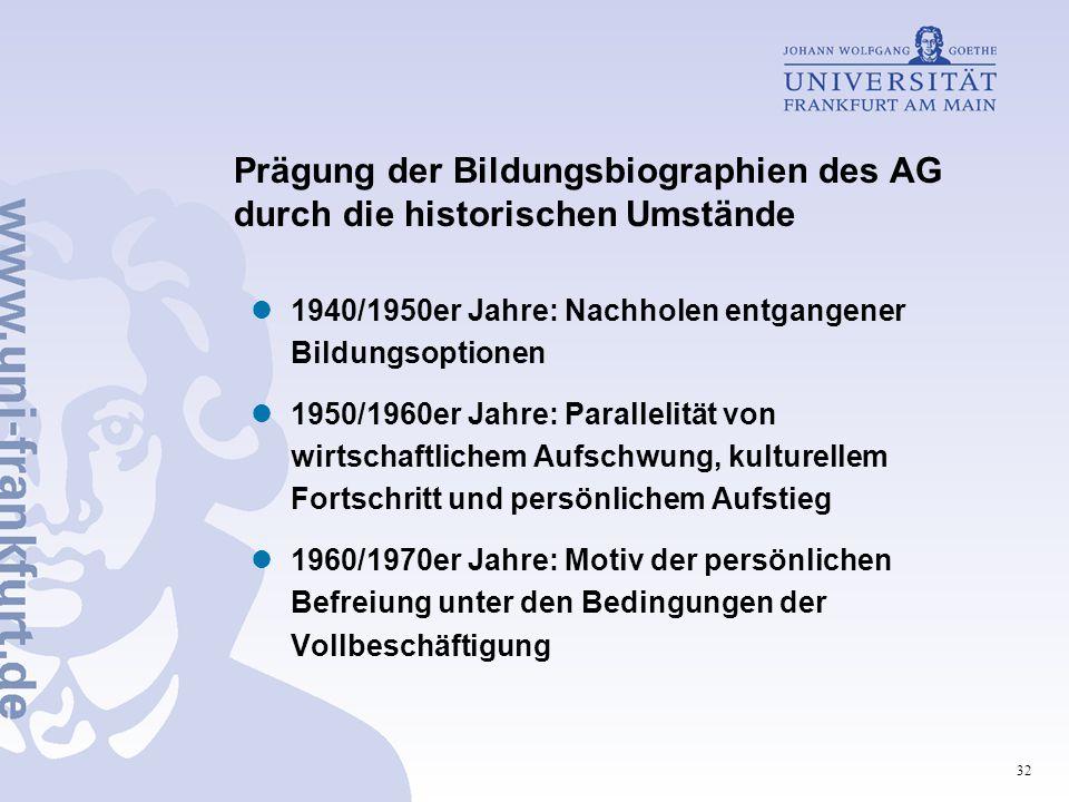 32 Prägung der Bildungsbiographien des AG durch die historischen Umstände 1940/1950er Jahre: Nachholen entgangener Bildungsoptionen 1950/1960er Jahre: