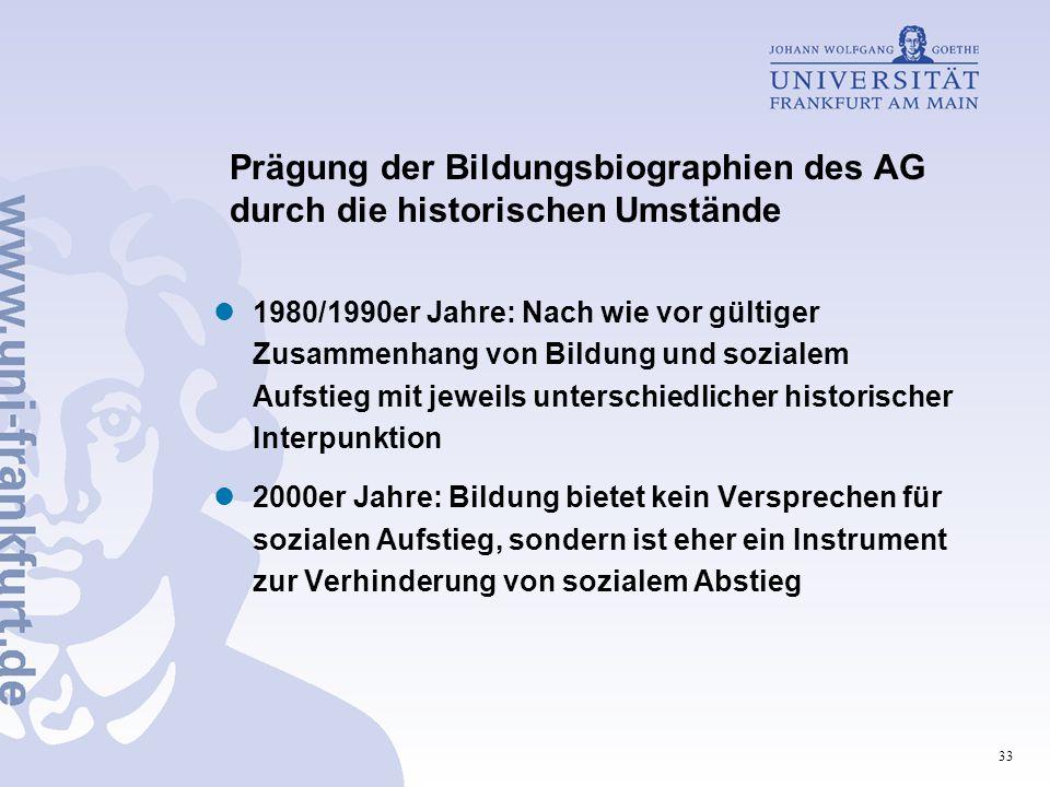 33 Prägung der Bildungsbiographien des AG durch die historischen Umstände 1980/1990er Jahre: Nach wie vor gültiger Zusammenhang von Bildung und sozial