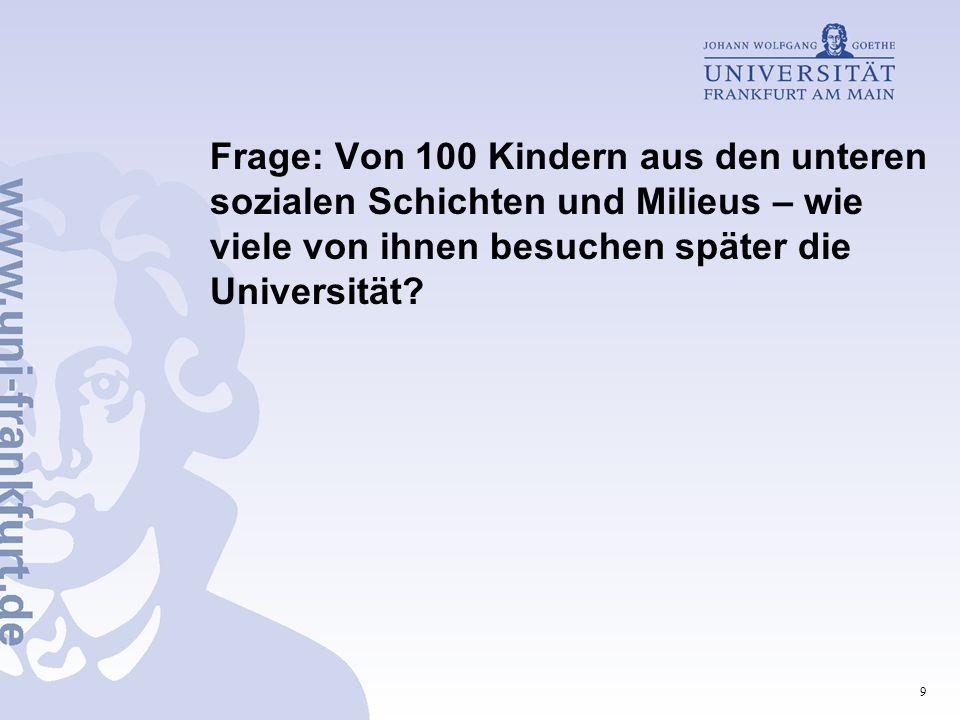 9 Frage: Von 100 Kindern aus den unteren sozialen Schichten und Milieus – wie viele von ihnen besuchen später die Universität?