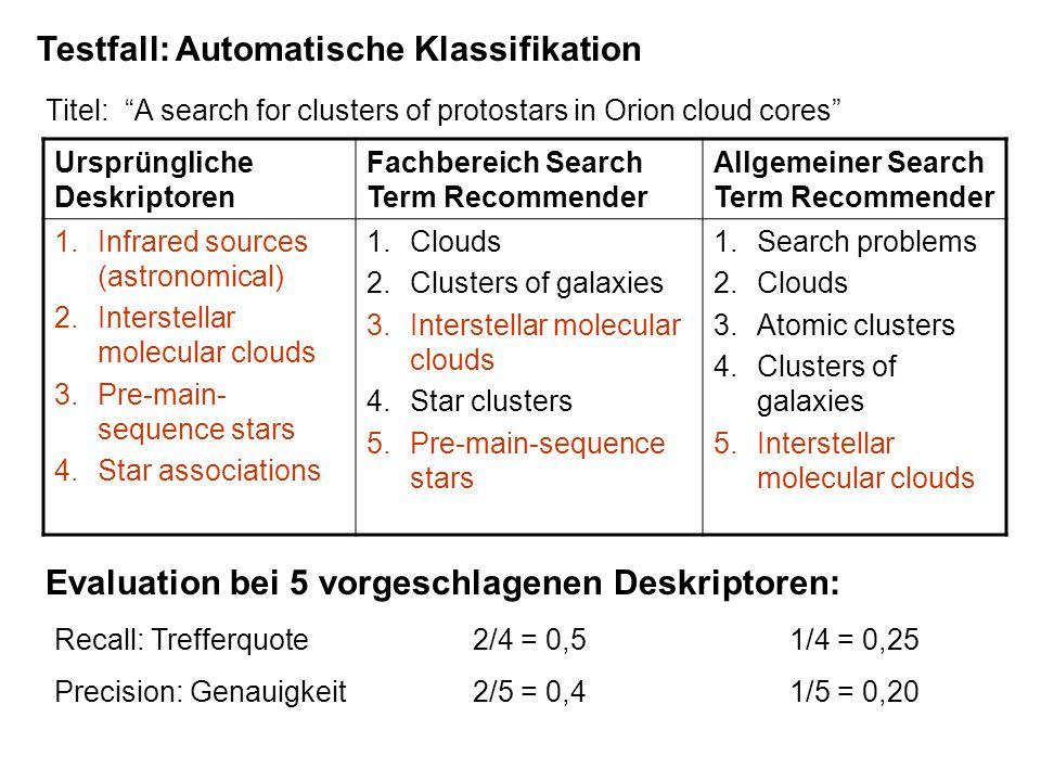 "Titel: ""A search for clusters of protostars in Orion cloud cores"" Testfall: Automatische Klassifikation Ursprüngliche Deskriptoren Fachbereich Search"