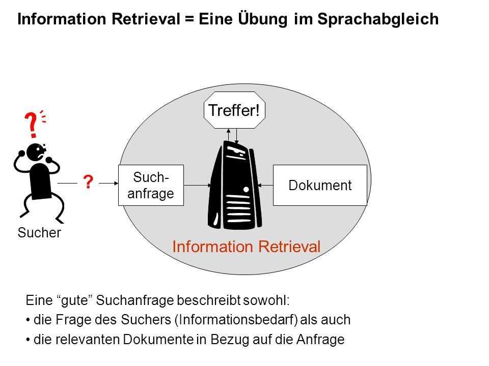 Semiotik:  Unendliche Semiose Informationswissenschaft:  Indexierungskonsistenz  Die Suchwortauswahl ist für den Erfolg eines Retrievalvorgangs ausschlaggebend.