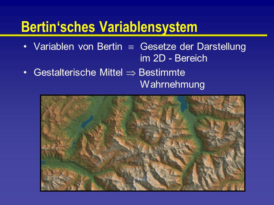 Bertin'sches Variablensystem Variablen von Bertin  Gesetze der Darstellung im 2D - Bereich Gestalterische Mittel  Bestimmte Wahrnehmung
