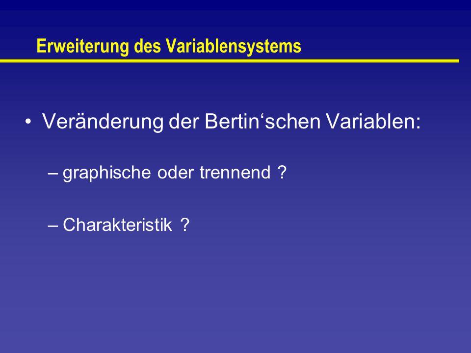 Erweiterung des Variablensystems Veränderung der Bertin'schen Variablen: –graphische oder trennend .