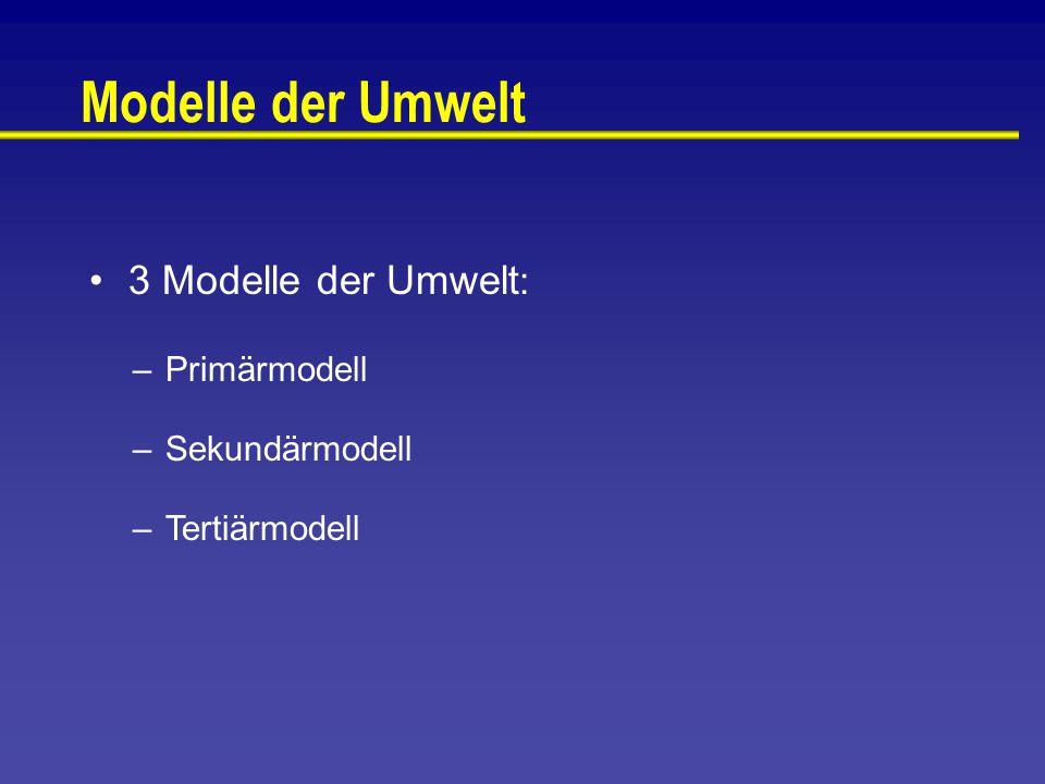 Modelle der Umwelt 3 Modelle der Umwelt : –Primärmodell –Sekundärmodell –Tertiärmodell