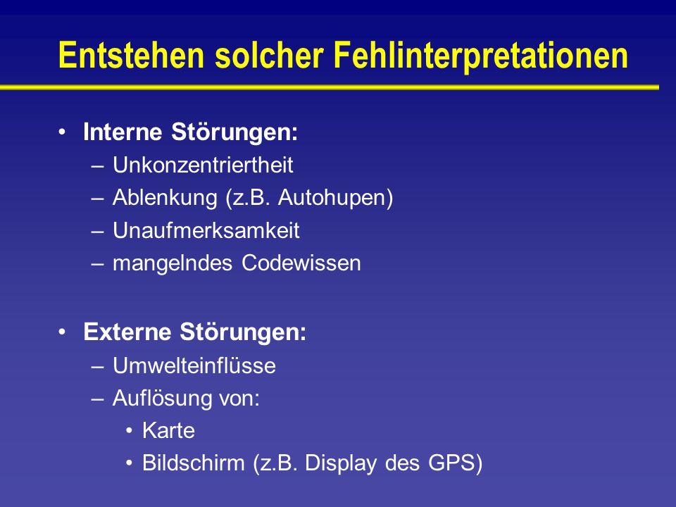 Entstehen solcher Fehlinterpretationen Interne Störungen: –Unkonzentriertheit –Ablenkung (z.B.