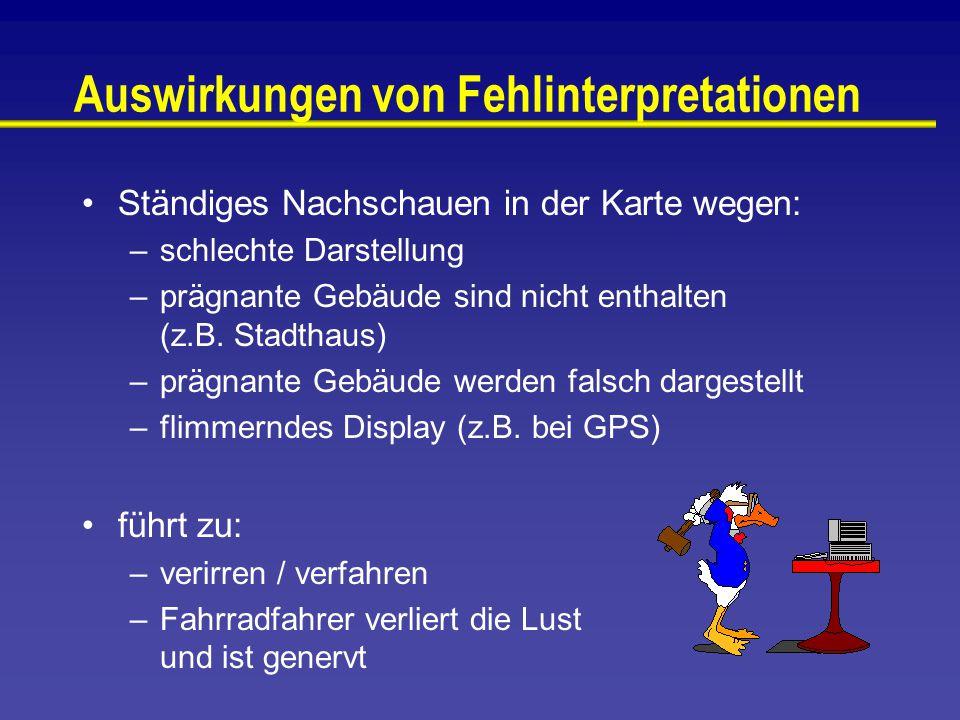 Auswirkungen von Fehlinterpretationen Ständiges Nachschauen in der Karte wegen: –schlechte Darstellung –prägnante Gebäude sind nicht enthalten (z.B.