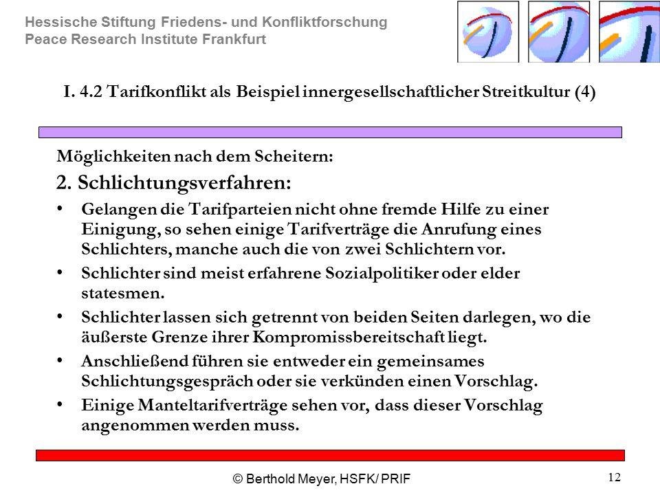 Hessische Stiftung Friedens- und Konfliktforschung Peace Research Institute Frankfurt © Berthold Meyer, HSFK/ PRIF 12 I. 4.2 Tarifkonflikt als Beispie