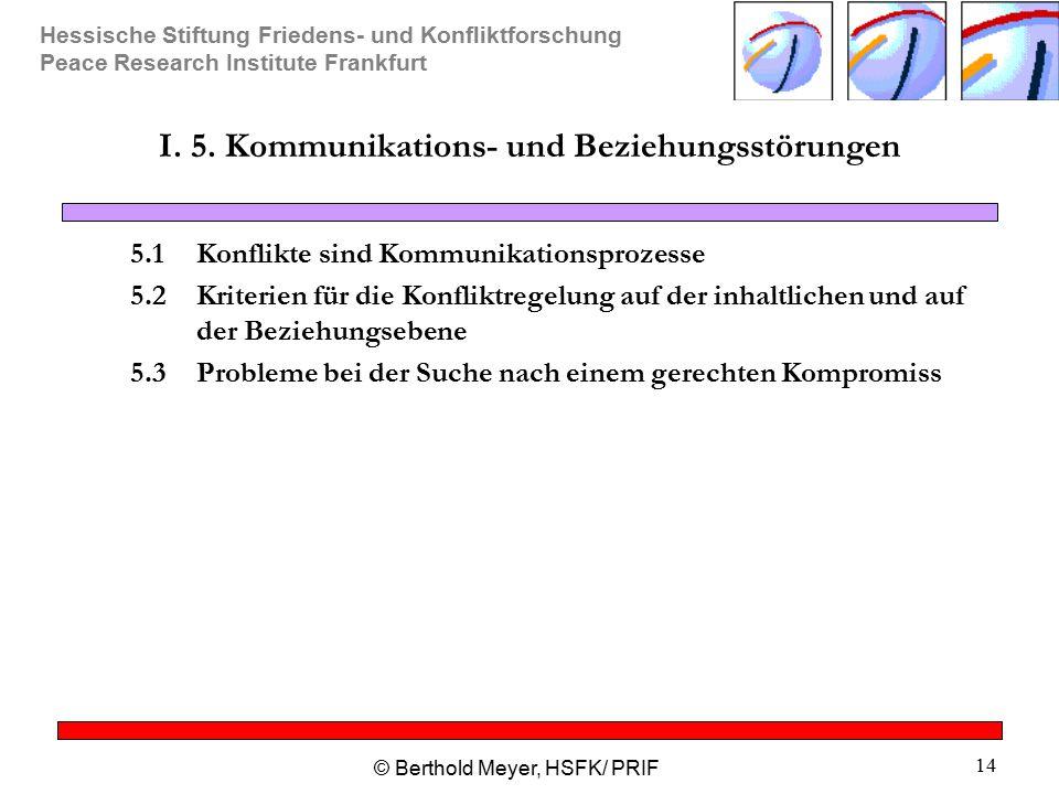 Hessische Stiftung Friedens- und Konfliktforschung Peace Research Institute Frankfurt © Berthold Meyer, HSFK/ PRIF 14 I. 5. Kommunikations- und Bezieh