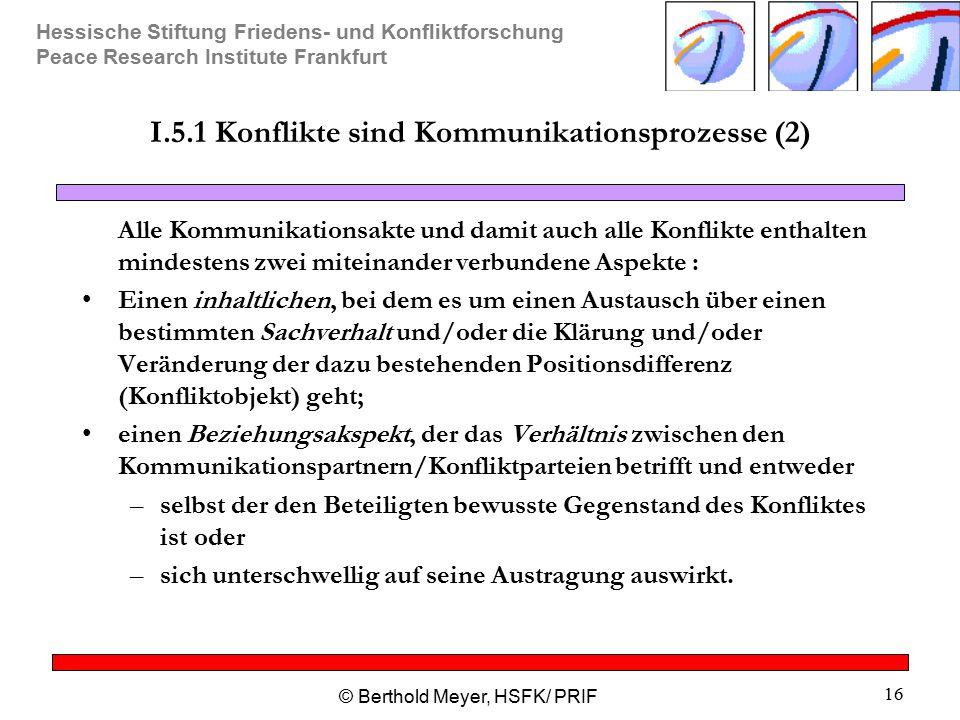 Hessische Stiftung Friedens- und Konfliktforschung Peace Research Institute Frankfurt © Berthold Meyer, HSFK/ PRIF 16 I.5.1 Konflikte sind Kommunikati