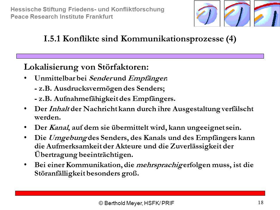 Hessische Stiftung Friedens- und Konfliktforschung Peace Research Institute Frankfurt © Berthold Meyer, HSFK/ PRIF 18 I.5.1 Konflikte sind Kommunikati