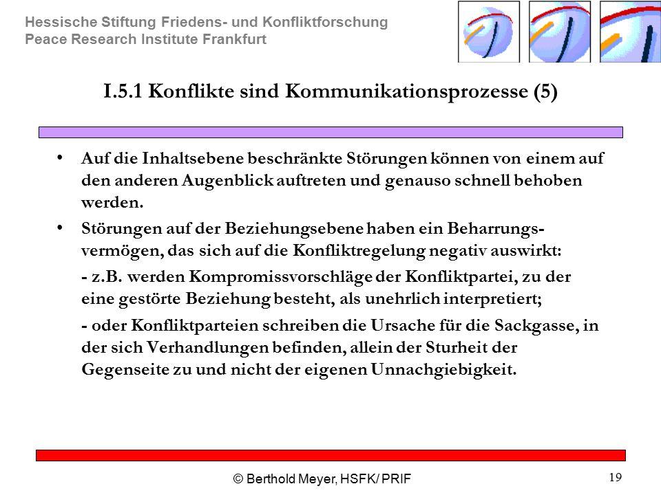Hessische Stiftung Friedens- und Konfliktforschung Peace Research Institute Frankfurt © Berthold Meyer, HSFK/ PRIF 19 I.5.1 Konflikte sind Kommunikati