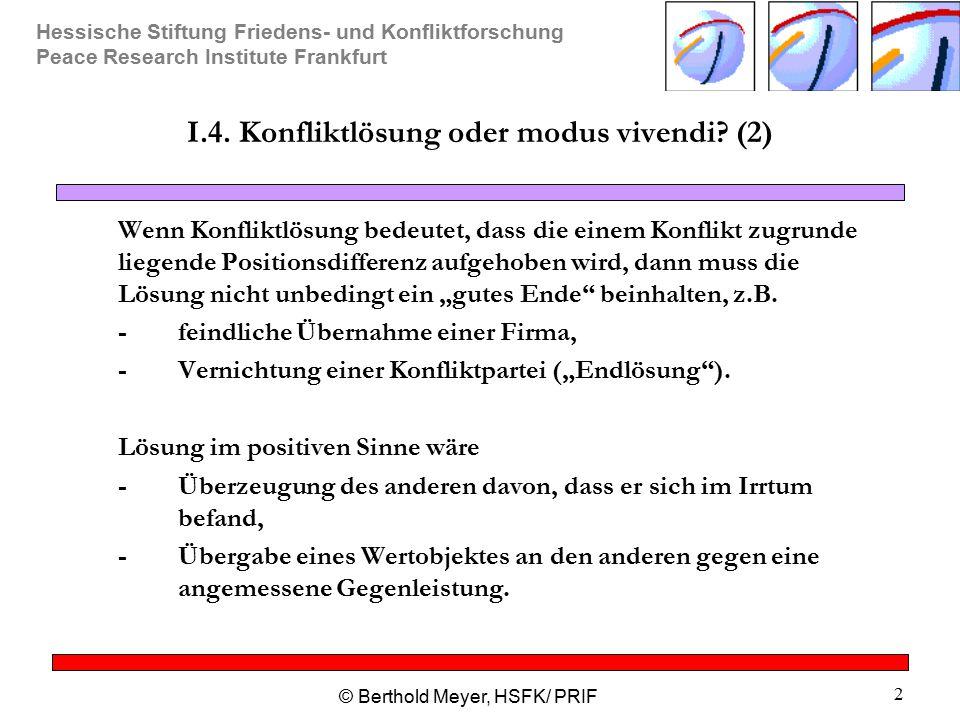 Hessische Stiftung Friedens- und Konfliktforschung Peace Research Institute Frankfurt © Berthold Meyer, HSFK/ PRIF 2 I.4. Konfliktlösung oder modus vi