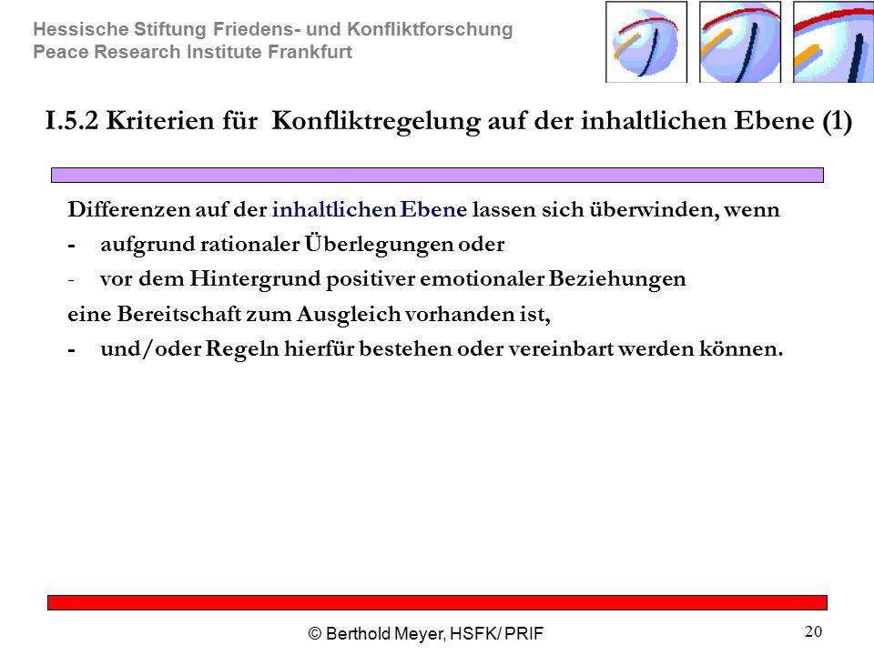 Hessische Stiftung Friedens- und Konfliktforschung Peace Research Institute Frankfurt © Berthold Meyer, HSFK/ PRIF 20 I.5.2 Kriterien für Konfliktrege