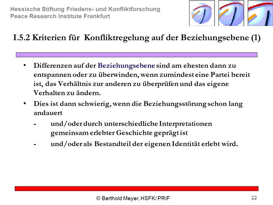Hessische Stiftung Friedens- und Konfliktforschung Peace Research Institute Frankfurt © Berthold Meyer, HSFK/ PRIF 22 I.5.2 Kriterien für Konfliktrege