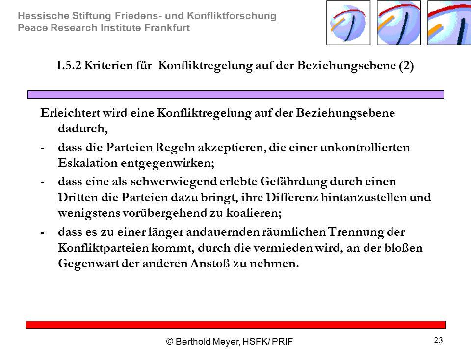 Hessische Stiftung Friedens- und Konfliktforschung Peace Research Institute Frankfurt © Berthold Meyer, HSFK/ PRIF 23 I.5.2 Kriterien für Konfliktrege