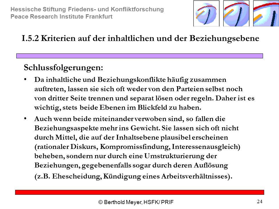 Hessische Stiftung Friedens- und Konfliktforschung Peace Research Institute Frankfurt © Berthold Meyer, HSFK/ PRIF 24 I.5.2 Kriterien auf der inhaltli