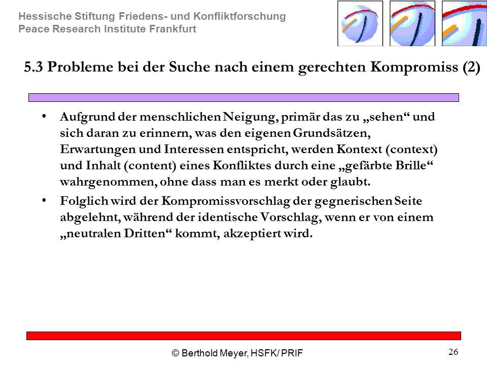 Hessische Stiftung Friedens- und Konfliktforschung Peace Research Institute Frankfurt © Berthold Meyer, HSFK/ PRIF 26 5.3 Probleme bei der Suche nach