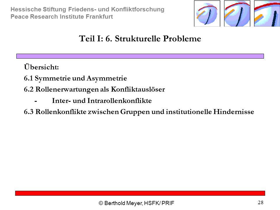 Hessische Stiftung Friedens- und Konfliktforschung Peace Research Institute Frankfurt © Berthold Meyer, HSFK/ PRIF 28 Teil I: 6. Strukturelle Probleme