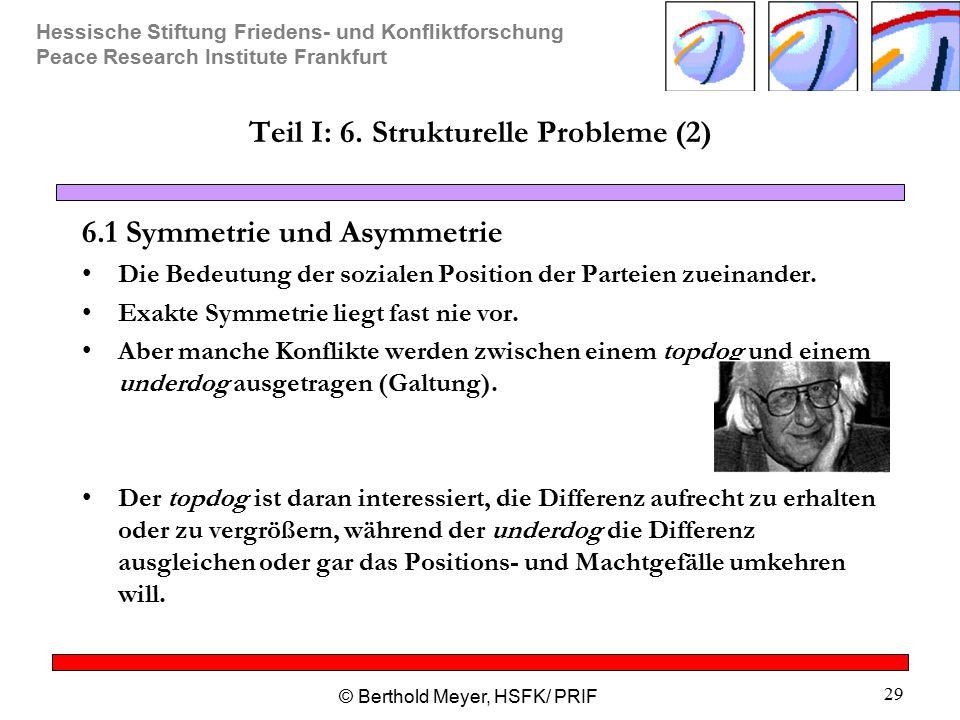Hessische Stiftung Friedens- und Konfliktforschung Peace Research Institute Frankfurt © Berthold Meyer, HSFK/ PRIF 29 Teil I: 6. Strukturelle Probleme