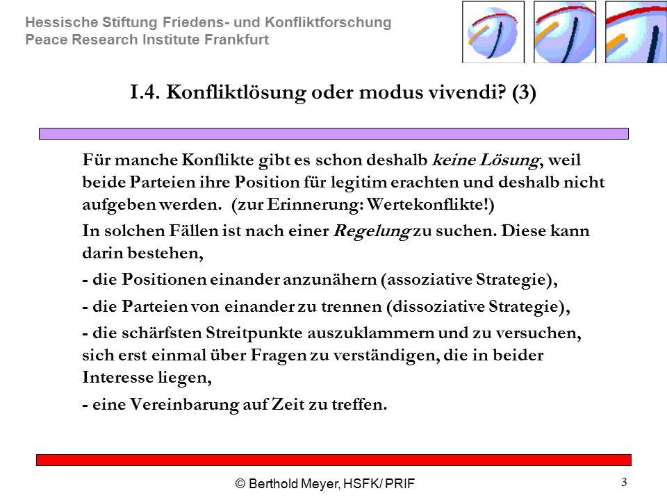 Hessische Stiftung Friedens- und Konfliktforschung Peace Research Institute Frankfurt © Berthold Meyer, HSFK/ PRIF 3 I.4. Konfliktlösung oder modus vi