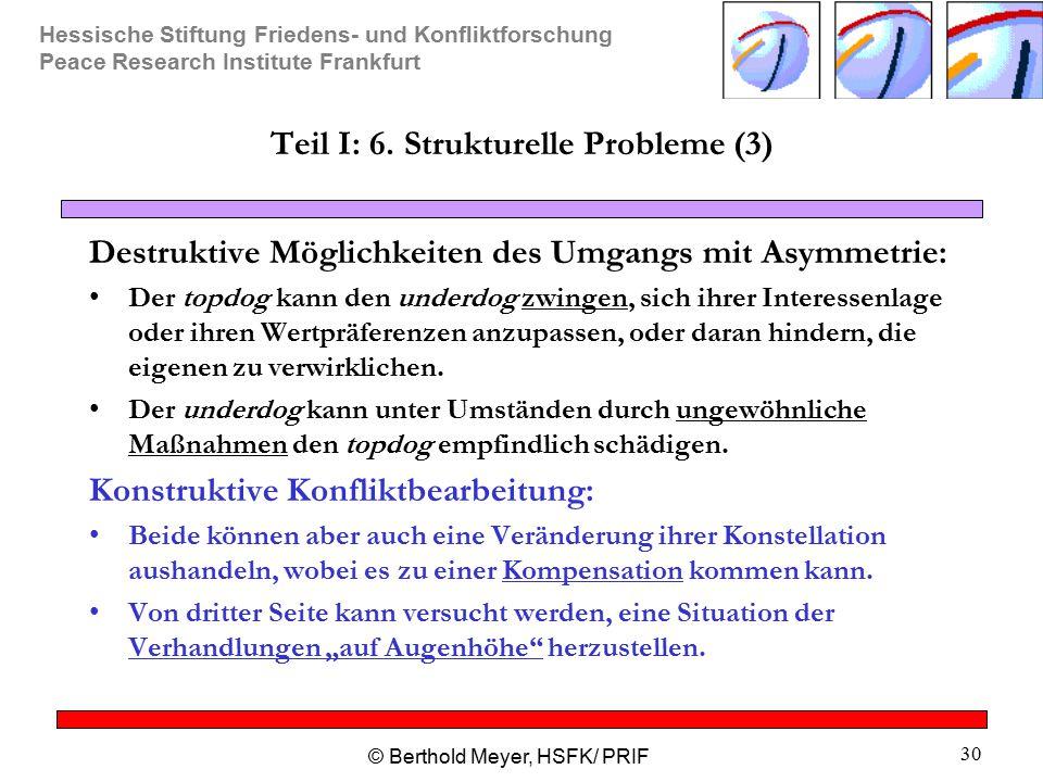Hessische Stiftung Friedens- und Konfliktforschung Peace Research Institute Frankfurt © Berthold Meyer, HSFK/ PRIF 30 Teil I: 6. Strukturelle Probleme