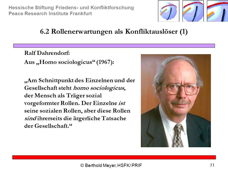Hessische Stiftung Friedens- und Konfliktforschung Peace Research Institute Frankfurt © Berthold Meyer, HSFK/ PRIF 31 6.2 Rollenerwartungen als Konfli