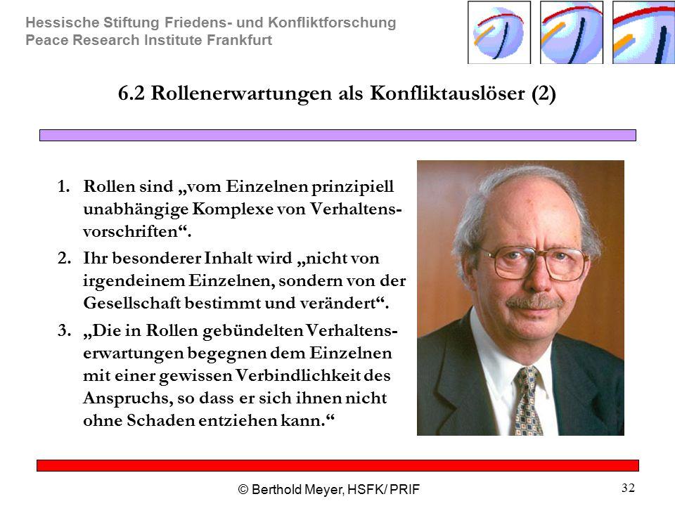 Hessische Stiftung Friedens- und Konfliktforschung Peace Research Institute Frankfurt © Berthold Meyer, HSFK/ PRIF 32 6.2 Rollenerwartungen als Konfli