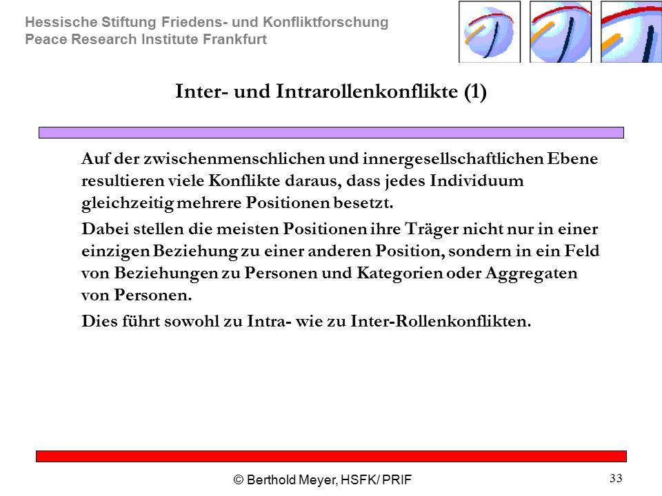Hessische Stiftung Friedens- und Konfliktforschung Peace Research Institute Frankfurt © Berthold Meyer, HSFK/ PRIF 33 Inter- und Intrarollenkonflikte