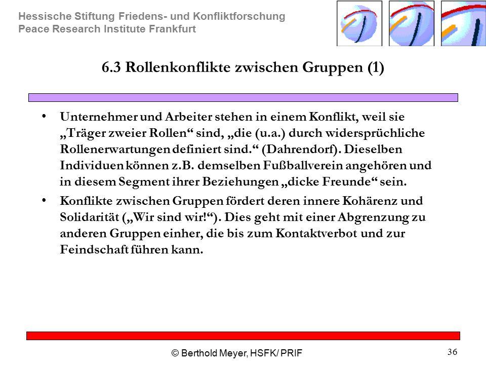 Hessische Stiftung Friedens- und Konfliktforschung Peace Research Institute Frankfurt © Berthold Meyer, HSFK/ PRIF 36 6.3 Rollenkonflikte zwischen Gru