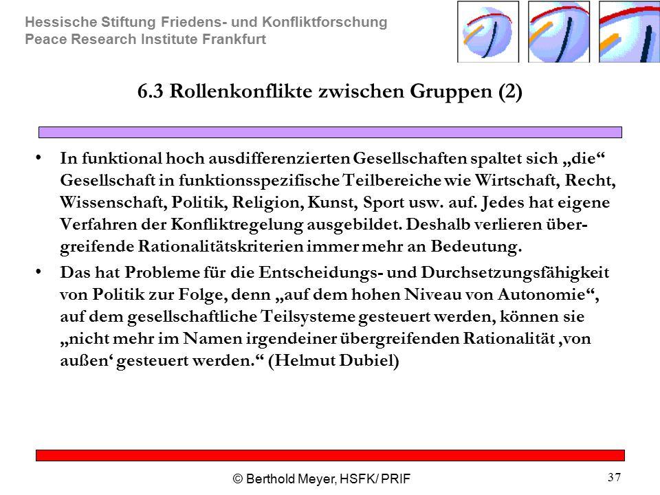 Hessische Stiftung Friedens- und Konfliktforschung Peace Research Institute Frankfurt © Berthold Meyer, HSFK/ PRIF 37 6.3 Rollenkonflikte zwischen Gru