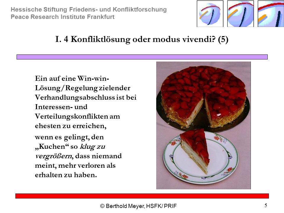 Hessische Stiftung Friedens- und Konfliktforschung Peace Research Institute Frankfurt © Berthold Meyer, HSFK/ PRIF 5 I. 4 Konfliktlösung oder modus vi