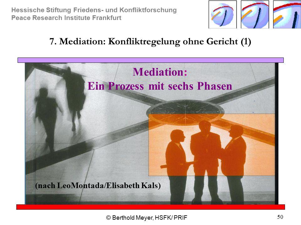 Hessische Stiftung Friedens- und Konfliktforschung Peace Research Institute Frankfurt © Berthold Meyer, HSFK/ PRIF 50 7. Mediation: Konfliktregelung o