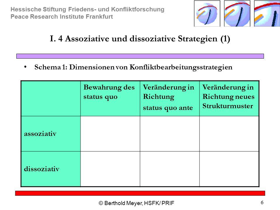 Hessische Stiftung Friedens- und Konfliktforschung Peace Research Institute Frankfurt © Berthold Meyer, HSFK/ PRIF 6 I. 4 Assoziative und dissoziative