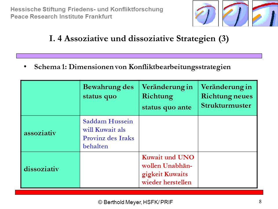Hessische Stiftung Friedens- und Konfliktforschung Peace Research Institute Frankfurt © Berthold Meyer, HSFK/ PRIF 8 I. 4 Assoziative und dissoziative