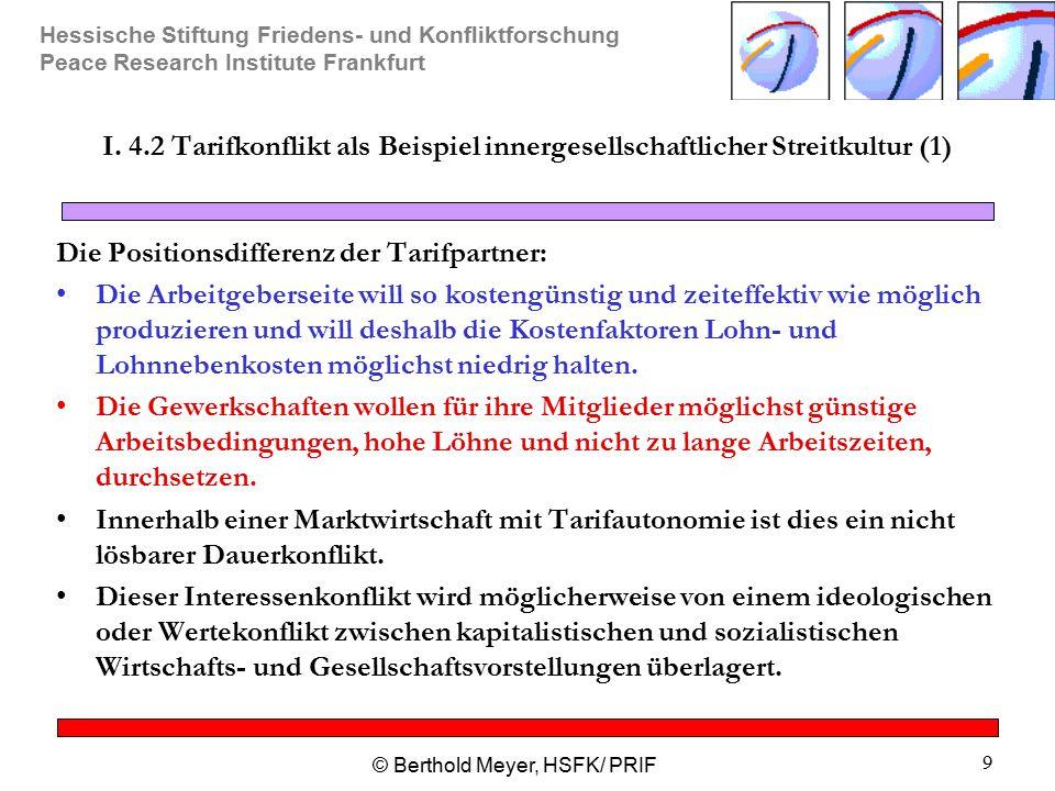 Hessische Stiftung Friedens- und Konfliktforschung Peace Research Institute Frankfurt © Berthold Meyer, HSFK/ PRIF 9 I. 4.2 Tarifkonflikt als Beispiel