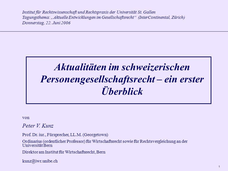 2 I.Einleitung A.Vorbemerkungen B. Realien zu den Personengesellschaften II.Ausgewählte Aspekte A.