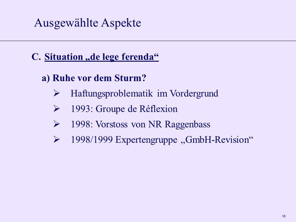 """16 C. Situation """"de lege ferenda"""" a) Ruhe vor dem Sturm?  Haftungsproblematik im Vordergrund  1993: Groupe de Réflexion  1998: Vorstoss von NR Ragg"""