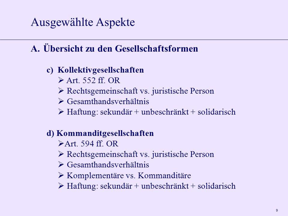 9 c) Kollektivgesellschaften  Art. 552 ff. OR  Rechtsgemeinschaft vs. juristische Person  Gesamthandsverhältnis  Haftung: sekundär + unbeschränkt