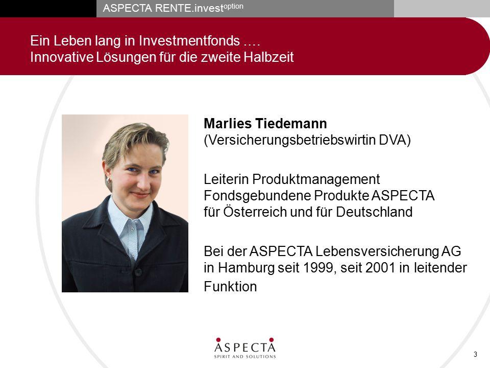 ASPECTA RENTE.invest option 3 Ein Leben lang in Investmentfonds …. Innovative Lösungen für die zweite Halbzeit Marlies Tiedemann (Versicherungsbetrieb
