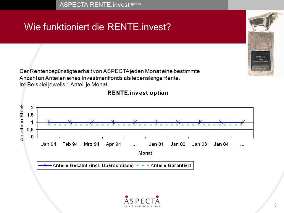 ASPECTA RENTE.invest option 8 Wie funktioniert die RENTE.invest? Der Rentenbegünstigte erhält von ASPECTA jeden Monat eine bestimmte Anzahl an Anteile