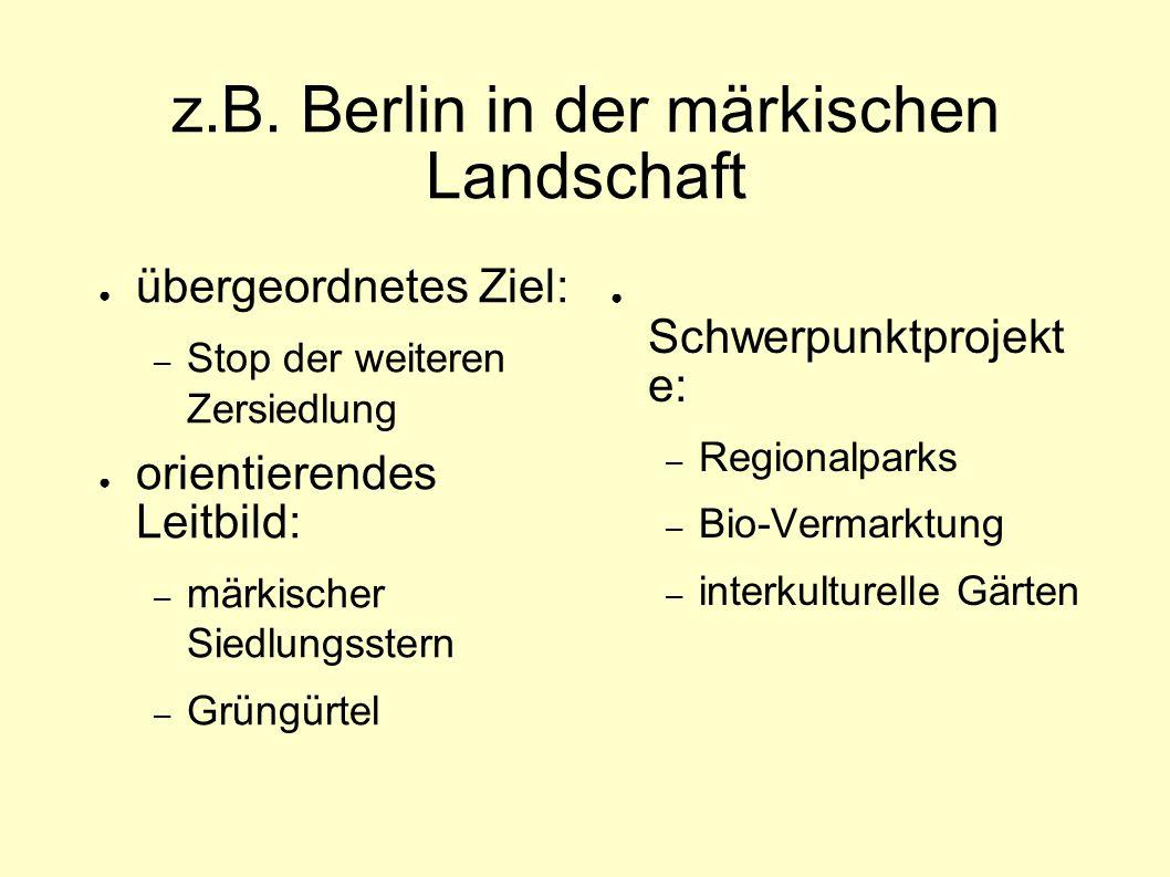 z.B. Berlin in der märkischen Landschaft ● übergeordnetes Ziel: – Stop der weiteren Zersiedlung ● orientierendes Leitbild: – märkischer Siedlungsstern