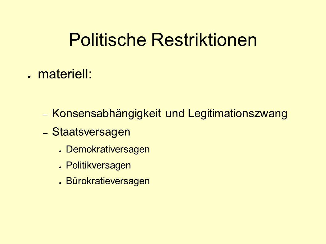Politische Restriktionen ● materiell: – Konsensabhängigkeit und Legitimationszwang – Staatsversagen ● Demokrativersagen ● Politikversagen ● Bürokratie