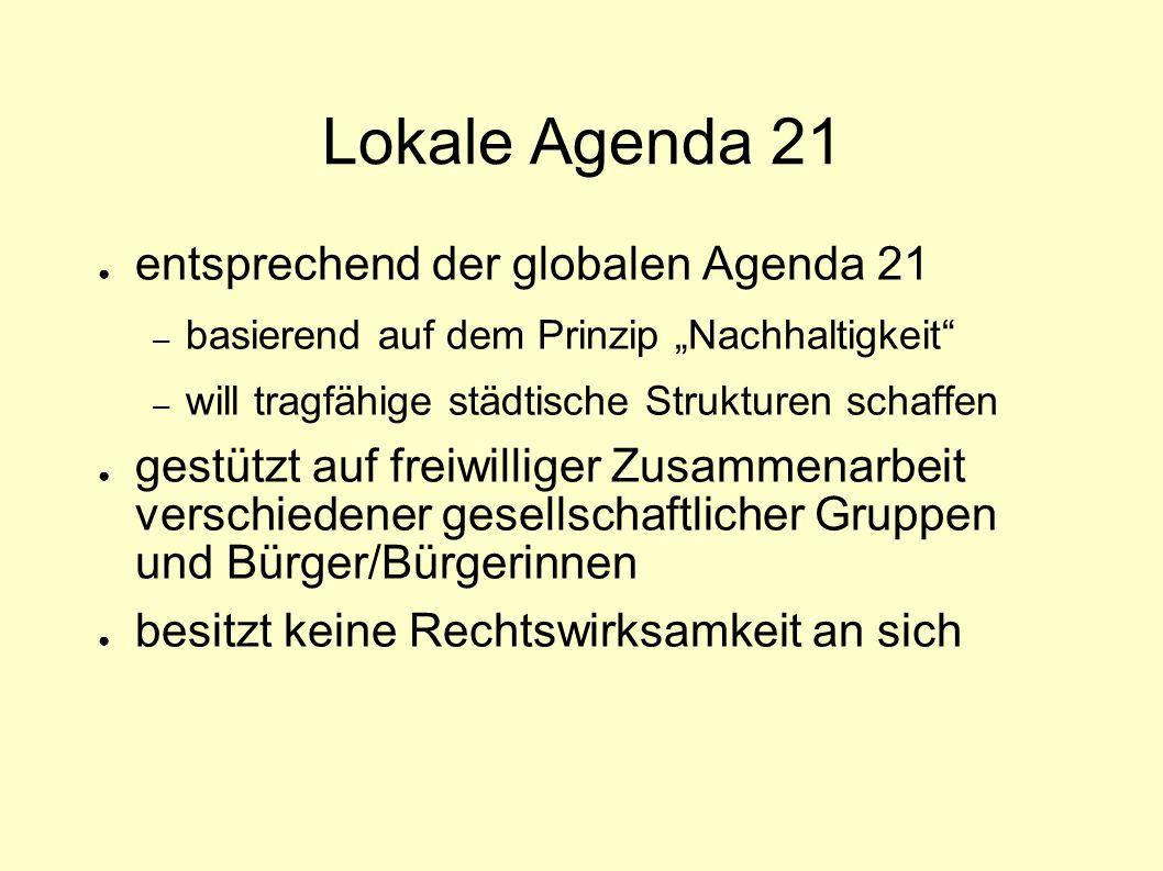 """Lokale Agenda 21 ● entsprechend der globalen Agenda 21 – basierend auf dem Prinzip """"Nachhaltigkeit"""" – will tragfähige städtische Strukturen schaffen ●"""