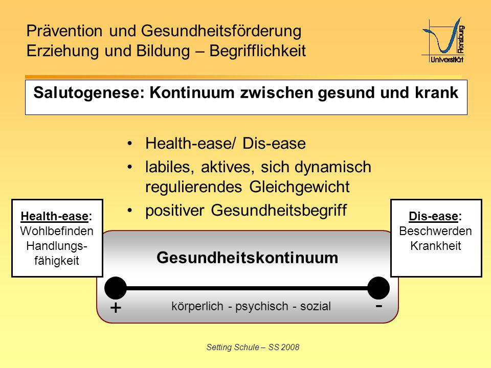 Prävention und Gesundheitsförderung Erziehung und Bildung – Begrifflichkeit Setting Schule – SS 2008 Salutogenese: Kontinuum zwischen gesund und krank