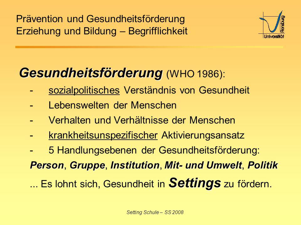Prävention und Gesundheitsförderung Erziehung und Bildung – Begrifflichkeit Setting Schule – SS 2008 Gesundheitsförderung Gesundheitsförderung (WHO 19