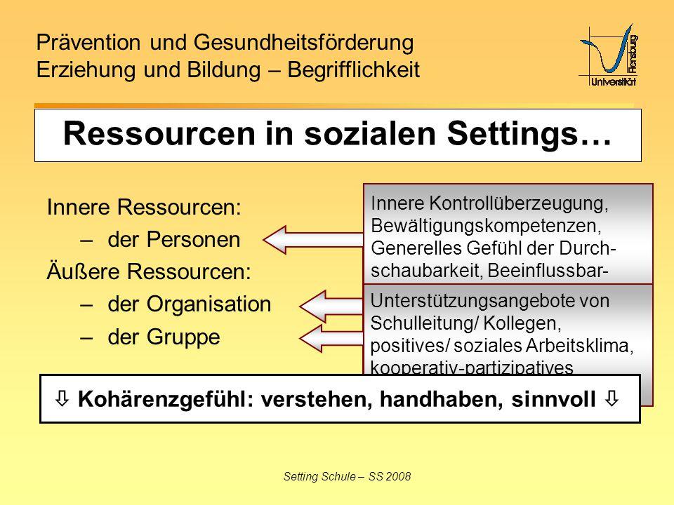 Prävention und Gesundheitsförderung Erziehung und Bildung – Begrifflichkeit Setting Schule – SS 2008 Innere Ressourcen: – der Personen Äußere Ressourc