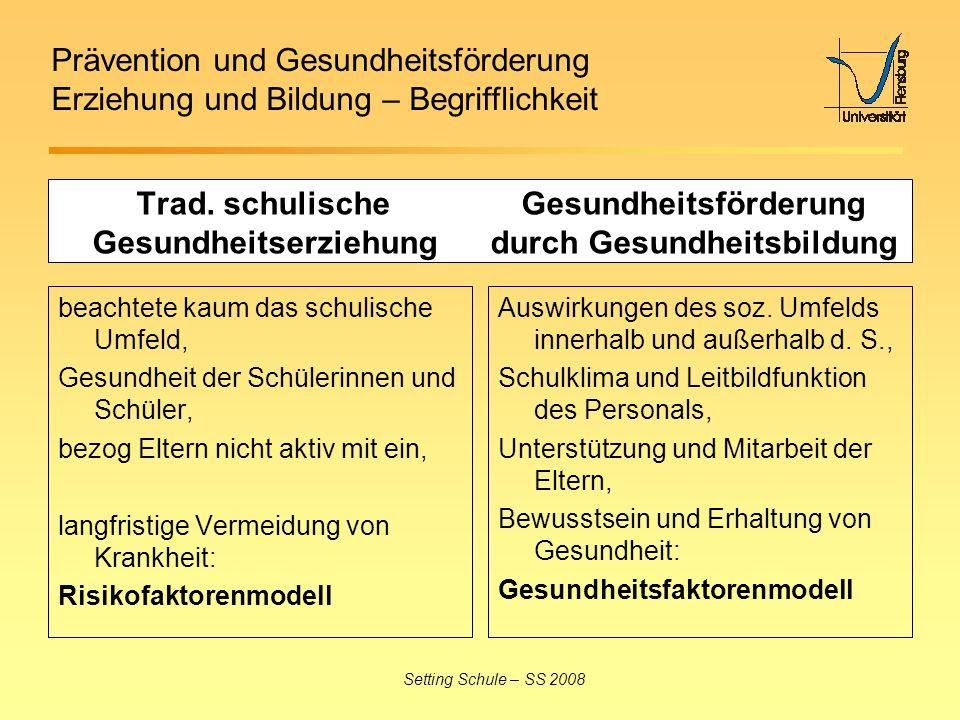 Prävention und Gesundheitsförderung Erziehung und Bildung – Begrifflichkeit Setting Schule – SS 2008 Trad. schulische Gesundheitsförderung Gesundheits