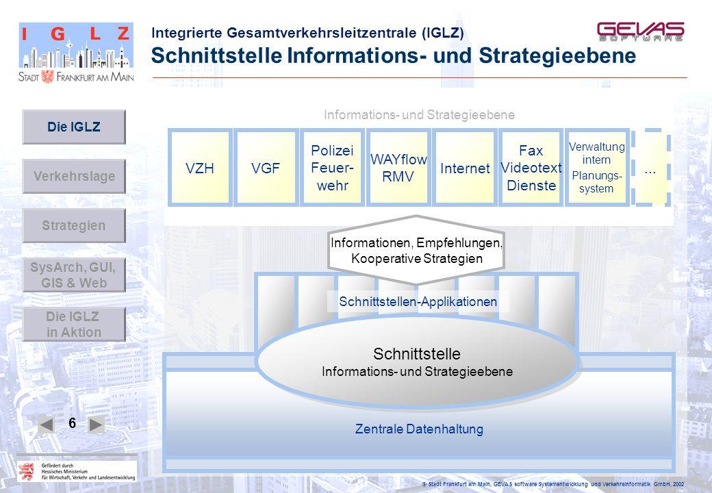 Integrierte Gesamtverkehrsleitzentrale (IGLZ) © Stadt Frankfurt am Main, GEVAS software Systementwicklung und Verkehrsinformatik GmbH, 2002 6 Schnitts